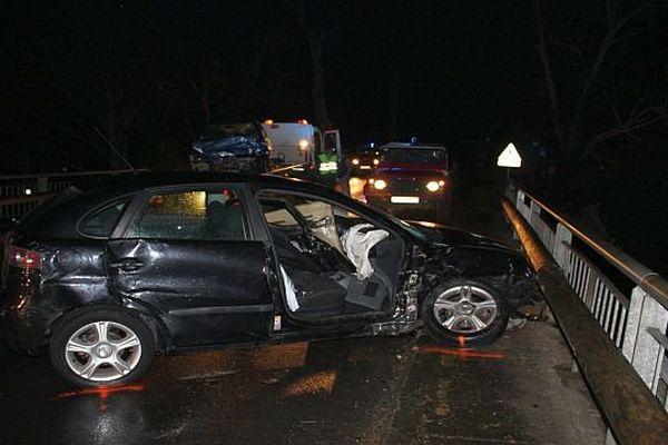 Céret (Pyrénées-Orientales) - 4 blessés dans un choc frontal entre 2 voitures sur la RD.618 - 4 janvier 2016.
