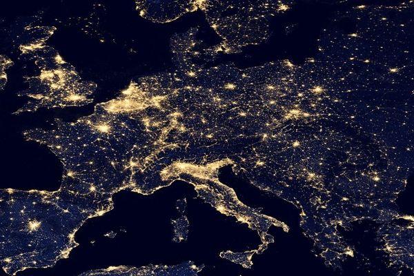 L'Europe la nuit vue du ciel