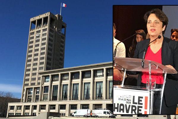 Agnès Canayer au meeting de lancement de la campagne d'Edouard Philippe au Havre le 31 janvier 2020 (en arrière plan : l'hôtel de ville du Havre)