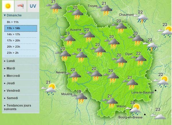 Les prévisions de Météo France pour le dimanche matin 23 août 2015