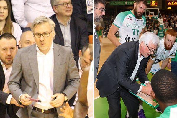 Le coach du BCM Serge Crévecoeur (à gauche), le coach de l'ESSM Christian Monschau (à droite).