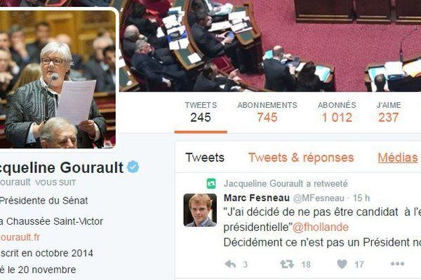 Beaucoup de réactions des élus régionaux sur Twitter après l'annonce par François Hollande qu'il ne sera pas candidat à sa succession en 2017. Ici, le compte Twitter de la sénatrice Jacqueline Gourault, sénatrice du Loir-et-Cher.