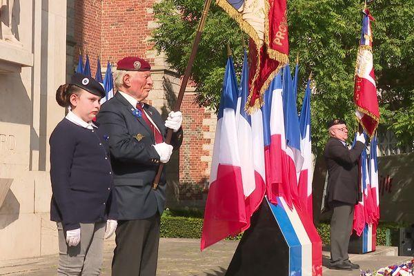 Malgré le confinement, la cérémonie du 8 Mai s'est tenue Place Rihour à Lille.