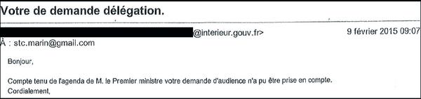 Mail du cabinet du Premier ministre daté du lundi 9 février à 9h, indiquant que le STC ne peut pas être reçu
