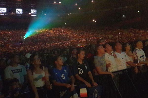 Plus de 4 500 spectateurs ont suivi la demi-finale du Mondial 2018 au Zénith de Dijon mardi 10 juillet 2018.