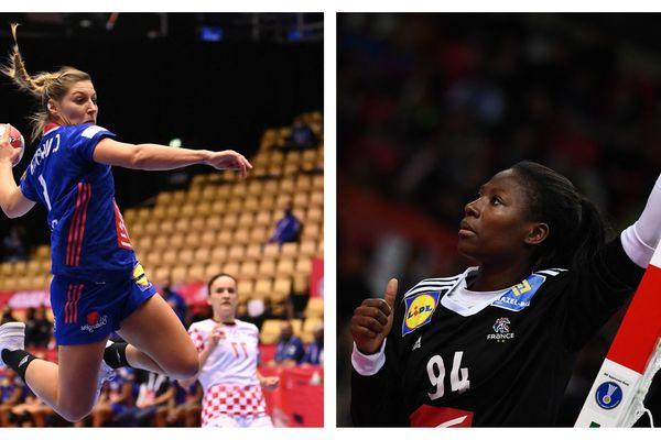 Les handballeuses franc-comtoises Chloé Valentini (à gauche) et Catherine Gabriel (à droite) font partie des 17 joueuses qui s'envoleront pour les JO de Tokyo en juillet 2021.