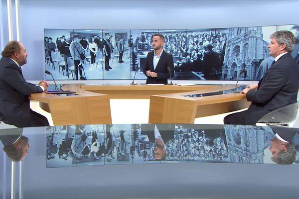 Le plateau de Dimanche en Politique, de g. à d. : Raphaël Gauvain, Jean-Christophe Galeazzi (France 3 Bourgogne), Gilles Platret