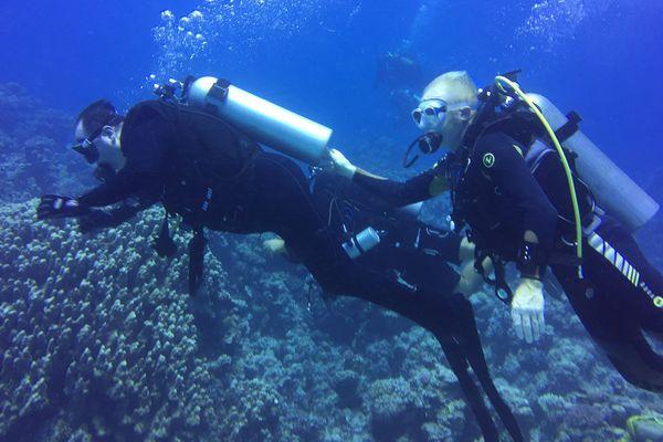 Michel, tétraplégique, lors d'une plongée en Égypte