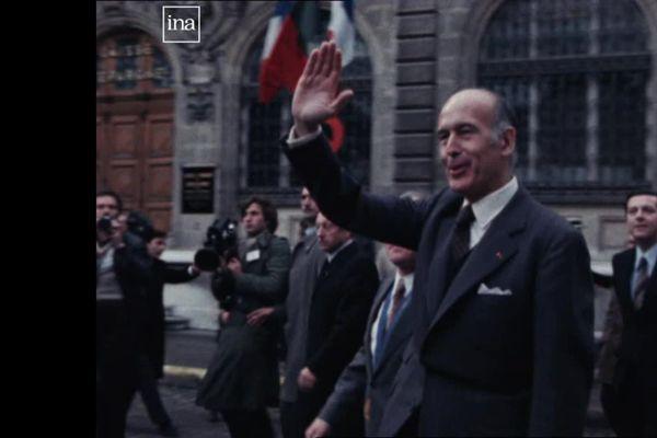 Le Président de la République Valéry Giscard d'Estaing à Beaune, le 26 janvier 1978 (archives)