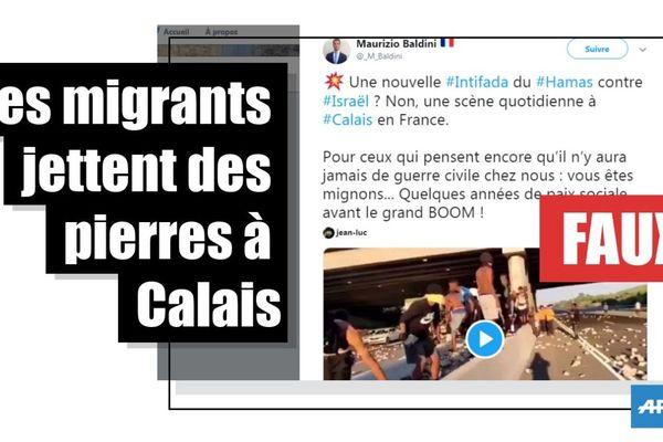 L'AFP a prouvé que cette vidéo ne se passait pas à Calais, mais bien en Israël.