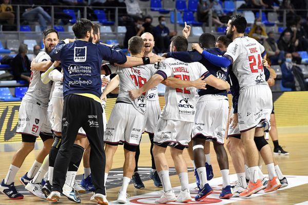Le Limoges Handball victorieux (30-26) contre Cesson-Rennes lors du match du 15 octobre dernier, à l'extérieur.