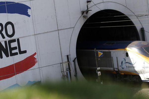Un train Eurostar rentre dans le tunnel sous la Manche à Coquelles (Pas-de-Calais), le 24 juin 2015.