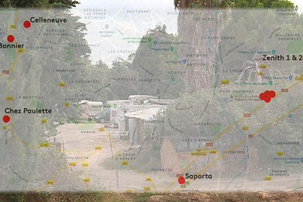 Carte des bidonvilles autour de Montpellier - 2019.