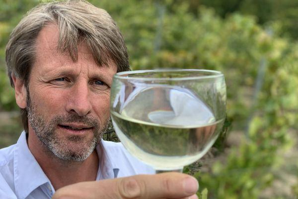 Edouard Capron, viticulteur à Freneuse en vallée de Seine, admire la robe de son vin blanc normand