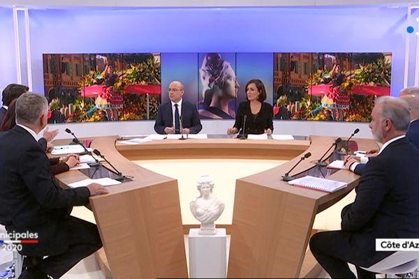 Débat sur les élections municipales 2020 à Nice sur le plateau de France 3 Côte d'Azur