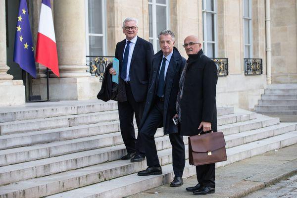 Jean-Claude Leray (à gauche), Président du département du Pas-de-Calais reçu à l'Elysée dans le cadre du grand débat national, le 21 février 2019.