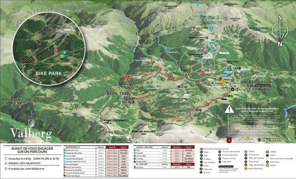 Plan des sentiers VTT à Valberg