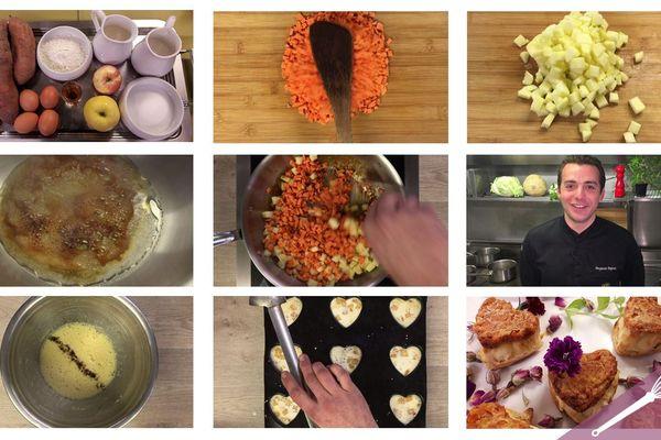 Les grandes étapes de la recette des coeurs de clafoutis aux pommes et patates douces