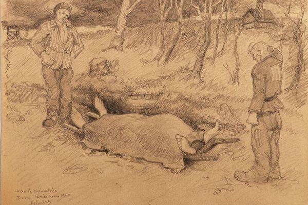 Dessin de Léon Delarbre au camp de Dora