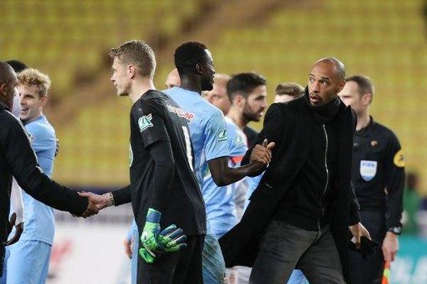 Thierry henry quitte le terrain à la fin du match de coupe de france de l'AS Monaco contre le FC metz au stade Louis II, le 22 janvier 2019. Le FC Metz a remporté le match 3-1.