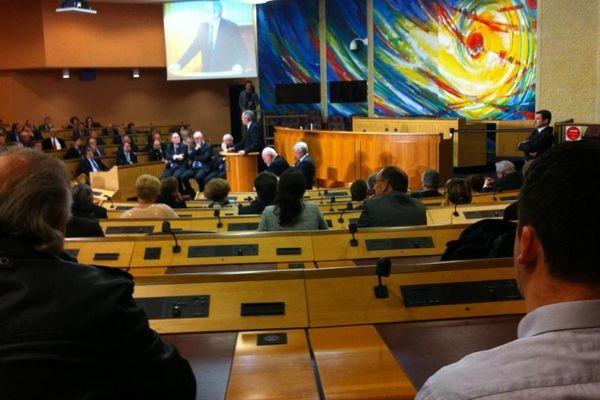 Le conseil régional de Lorraine accueillait les chefs d'exécutifs lorrains, lundi 21 janvier 2013 à l'occasion des voeux aux forces vives de la région.