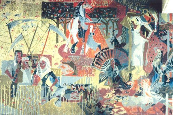 Voici une des fresques de Geoffroy Dauvergne, aujourd'hui recouverte de toiles de verre