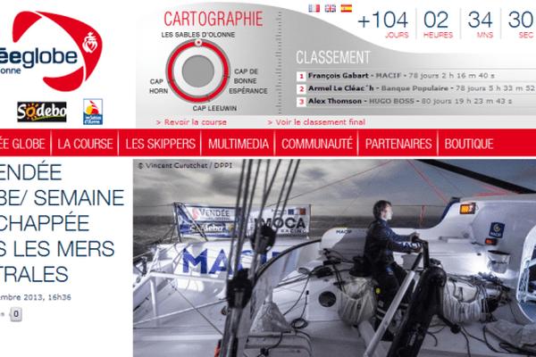 capture d'écran du site du Vendée Globe 2013