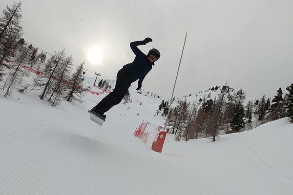 Entraînement de l'équipe de France de snowboard à Isola 2000.