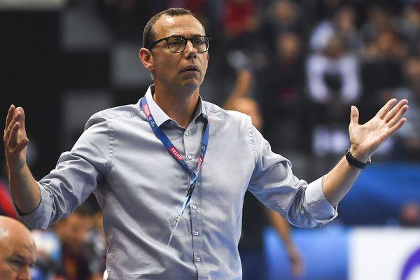 Patrice Canayer réagit lors du match entre Montpellier et Skopje. Les Héraultais se sont inclinés et perdent leur titre de champion d'Europe / le 2 mars 2019.