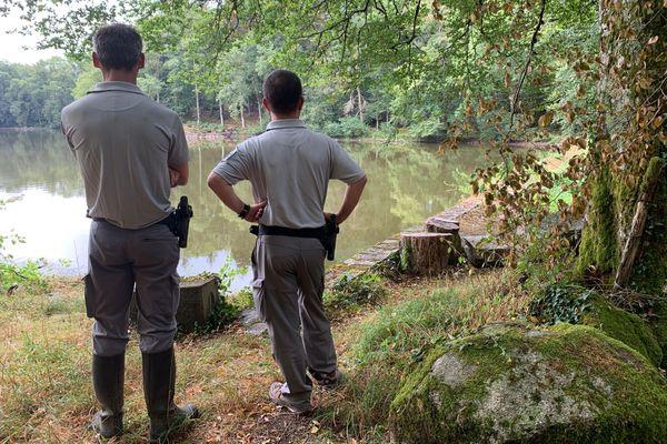 Des agents de l'OFB constatent que la sécheresse et peut-être des incivilités ont causé la mort de nombreux poissons dans un étang de Haute-Vienne lors de la canicule de l'été 2020.