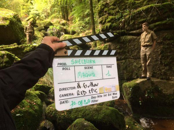 Tournage d'une séquence du film Shelburn en Forêt de Coat-Mallouen