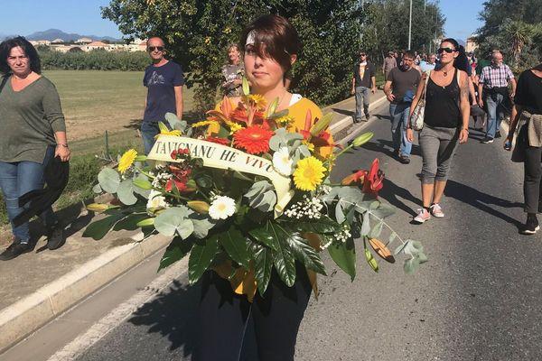 Manifestation à Aleria le 5 octobre 2019 contre le feu vert du tribunal administratif au centre de stockage des déchets de Giuncaggio.