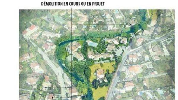 Le secteur du Hameau de la Brague à Biot, dont les maisons ont été rachetées par la CASA pour démolition.