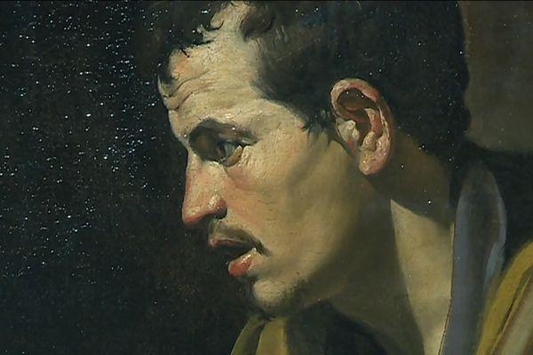 """""""Saint Thomas"""" détail - huile sur toile peinte par Diégo Vélasquez aux environs de 1618 - Musée des Beaux-Arts d'Orléans - Loiret"""