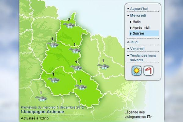 Carte météo - neige (05/12/2012)