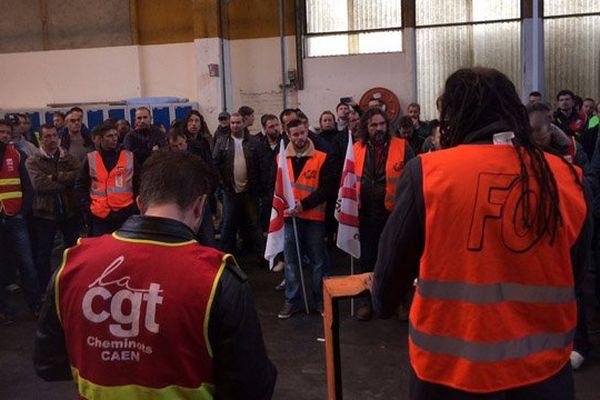 Les cheminots de Caen en assemblée générale ce jeudi matin