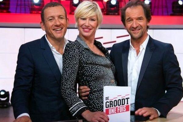 Dany Boon et Stéphane De Groodt avec l'animatrice de Canal + Maïtena Biraben.
