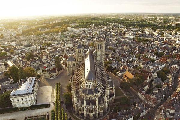 Bourges, vue du ciel (Cher).