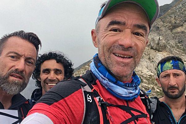 """""""les quatres fantastiques"""" Fred Gil (Gard), Moustapha El Idrissi (Belgique), Denis Clerc (Hérault) et Jean-Pierre Soler (Gard) pendant la course Swiss Peaks en Swiss Peak en septembre 2018."""