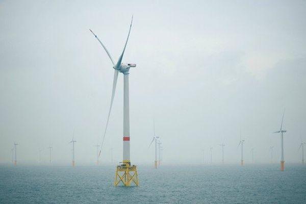 L'éolienne Haliade implantée au large d'Ostende, en Belgique.