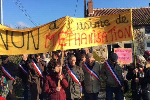 Manifestation contre le projet d'usine de méthanisation à La Puye (Vienne).