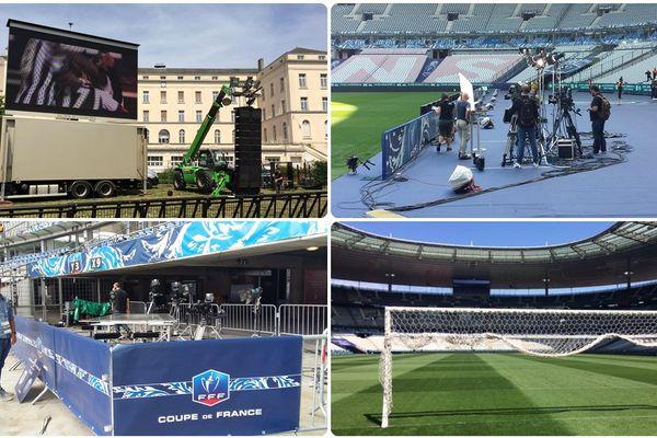 Les préparatifs savant la finale de la coupe de France entre Angers SCO - PSG