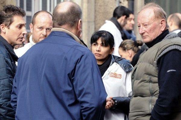 Les salariés de Spanghero devant la préfecture de l'Aude le 15 février