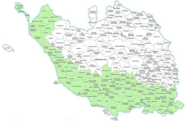 La carte des 126 commune de Vendée concernées par les mesures de vigilance à l'influenza aviaire