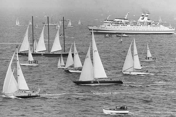 Photo prise lors du départ de la première édition de la Route du Rhum, le 4 novembre 1978.