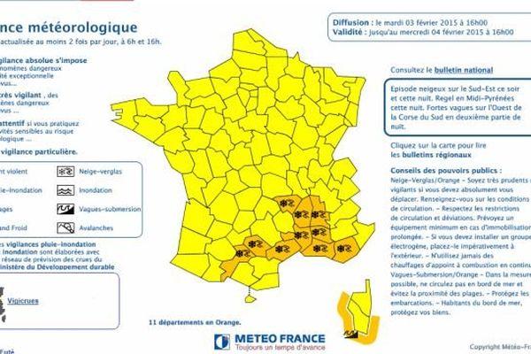 Carte de vigilance établie par Météo France.