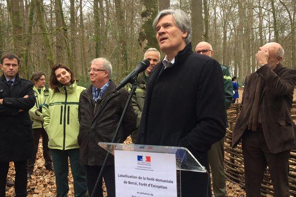 En forêt de Bercé, le ministre de l'Agriculture et des Forêts Stéphane Le Foll remet le label Forêt d'exception ce samedi 18 mars 2017.