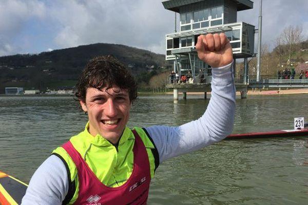 Le sourire du jeune kayakiste libournais Nathan Colombet, à l'issue de la compétition régionale sur le Lac du Causse
