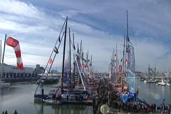 Les Sables d'olonne (Vendée) - les voiliers avant le départ - 8 novembre 2012.