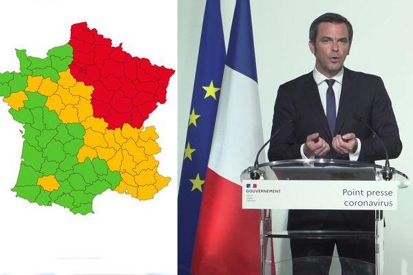 La carte de France des départements en vue du déconfinement présentée ce vendredi soir/ Olivier Véran, ministre de la Santé